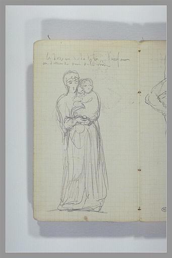 CHAPU Henri Michel Antoine : Une femme portant dans ses bras un enfant et indiaction manuscrite
