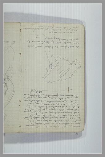 CHAPU Henri Michel Antoine : Figure, vue à mi-corps, notes manuscrites