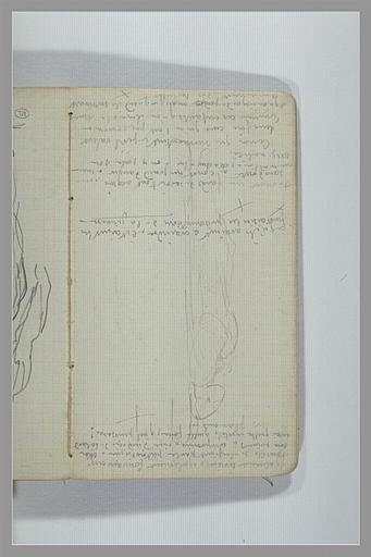 CHAPU Henri Michel Antoine : Une femme allongée sur le dos, notes manuscrites