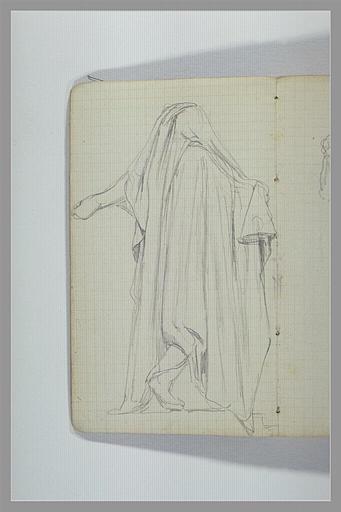 Une figure drapée, vue de dos