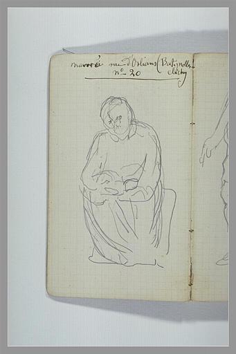 CHAPU Henri Michel Antoine : Adresse manuscrite, figure drapée assise