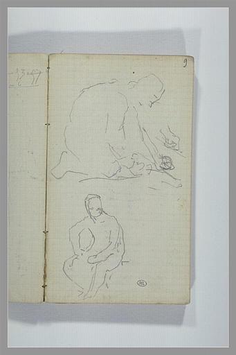 Figure agenouillée, vue de profil ; figure assise