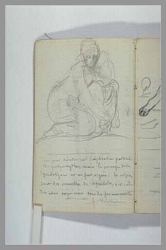 Une femme agenouillée ; note manuscrite_0