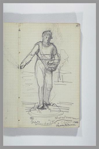 CHAPU Henri Michel Antoine : Un semeur, vu de face, note manuscrite