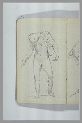 CHAPU Henri Michel Antoine : Homme nu, debout, les bras tombant, la tête baissée