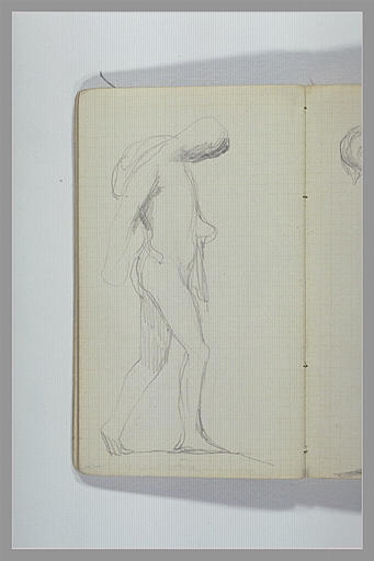 CHAPU Henri Michel Antoine : Homme nu, debout, portant quelque chose sur l'épaule droite