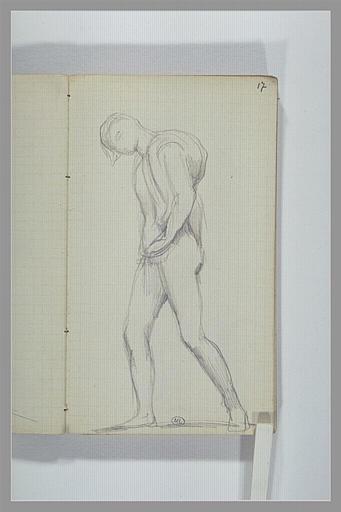 Homme nu, debout, portant quelque chose sur l'épaule droite_0