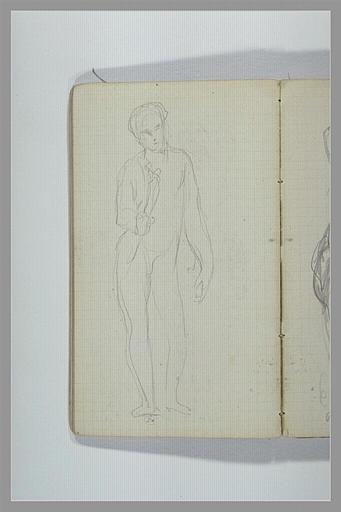 CHAPU Henri Michel Antoine : Un homme, debout, tenant un objet de la main droite