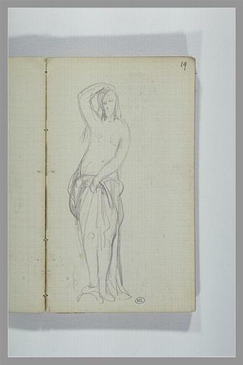 Une femme, debout, à demi nue_0