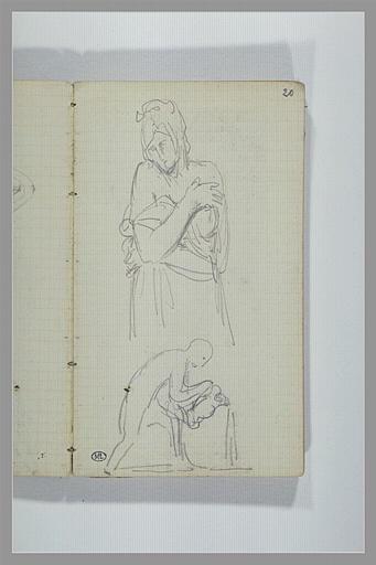 CHAPU Henri Michel Antoine : Une femme, vue à mi-corps, un homme versant l'eau d'une cruche