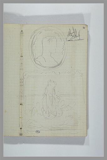 CHAPU Henri Michel Antoine : Tête d'homme dans un médaillon, pieds, déesse sur l'eau