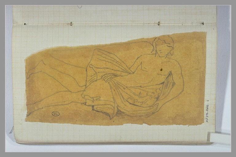 CHAPU Henri Michel Antoine : Un ange (?) portant des fleurs dans sa draperie