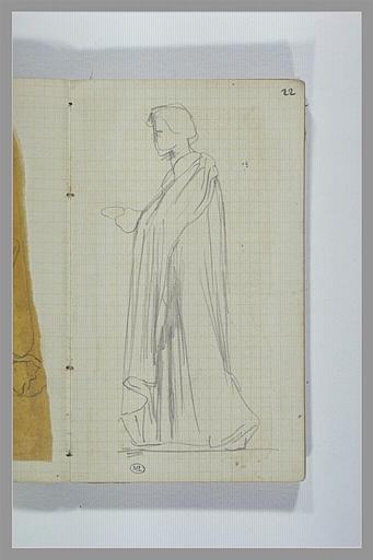 Une figure, debout, drapée, vu de profil