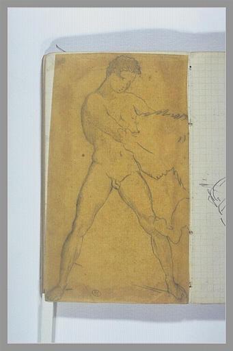 CHAPU Henri Michel Antoine : Un jeune homme combattant un lion
