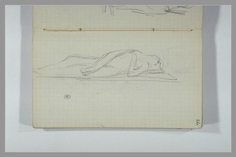 Une femme nue allongée sur un socle
