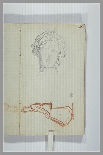CHAPU Henri Michel Antoine : Tête de jeune homme, figure assise, vue de profil