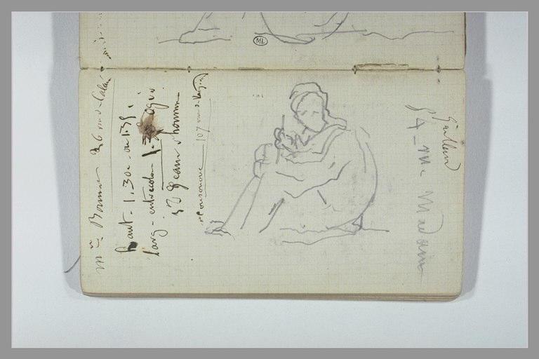 Notes manuscrites ; figure assise écrivant ou dessinant