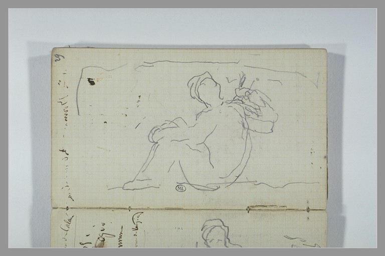 CHAPU Henri Michel Antoine : Une figure assise à terre