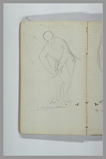 CHAPU Henri Michel Antoine : Croquis d'un pêcheur détachant un hameçon de son vêtement
