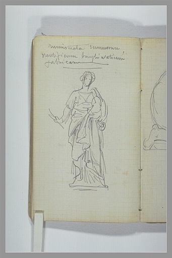 CHAPU Henri Michel Antoine : Femme debout drapée, d'après une statue antique, note manuscrite