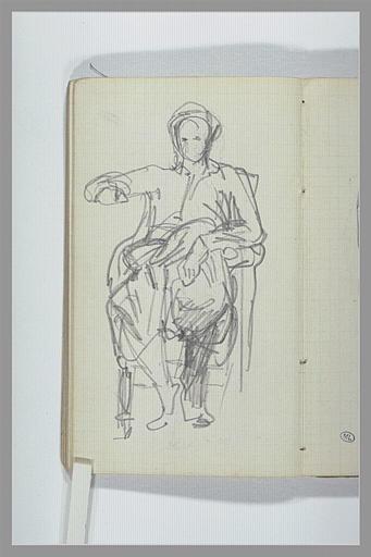 CHAPU Henri Michel Antoine : Une figure assise sur un fauteuil