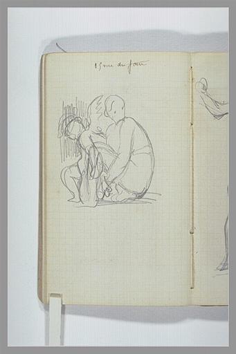 CHAPU Henri Michel Antoine : Une figure accroupie et un angelot