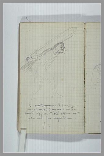 CHAPU Henri Michel Antoine : Un homme portant un fardeau, note manuscrite