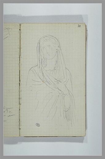 CHAPU Henri Michel Antoine : Une femme, la tête couvert d'un voile, vue en buste