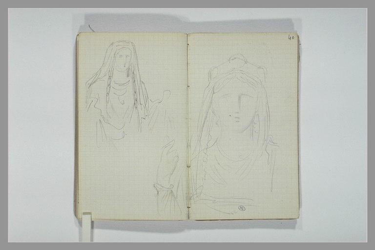 Une femme, la tête couvert d'un voile, en costume médiéval ; bras