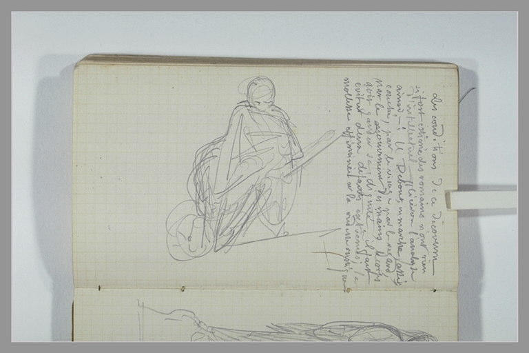 Une figure assise sur une brouette ; note manuscrite