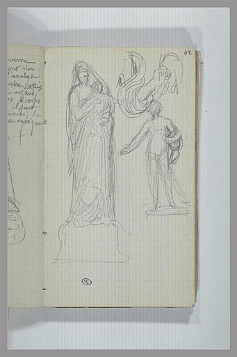 CHAPU Henri Michel Antoine : Vierge à l'Enfant, bras, une figure, debout, à demi nu