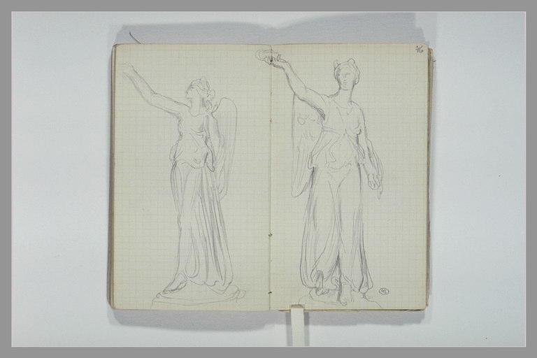 CHAPU Henri Michel Antoine : Figure féminine ailée tenant une couronne, couronne
