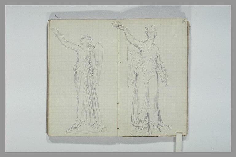 CHAPU Henri Michel Antoine : Une figure féminine ailée tenant d'une main une couronne