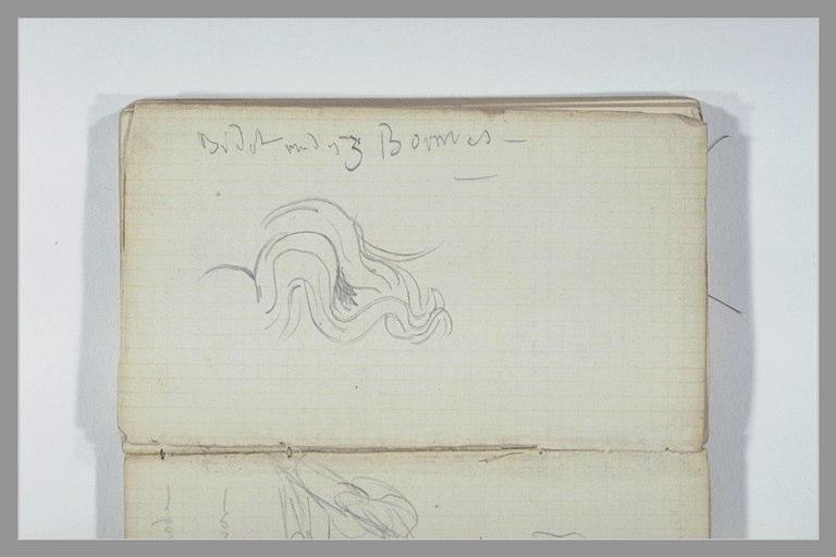 CHAPU Henri Michel Antoine : Croquis d'un élément décoratif, note manuscrite