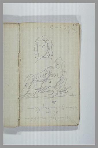 Tête ; figure assise à terre ; notes manuscrites_0