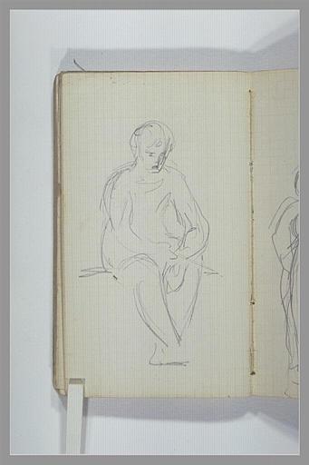 Une figure assise, jambes pendantes
