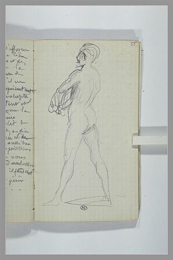 Un homme nu, debout, tourné vers la gauche