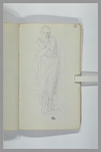 Une femme, debout, drapée, les bras croisés sur sa poitrine
