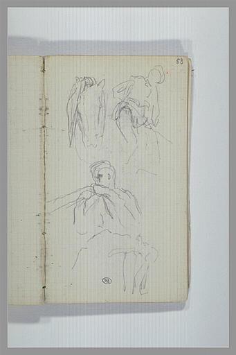 CHAPU Henri Michel Antoine : Tête de cheval, figure, de profil, figure, les mains au niveau du visage
