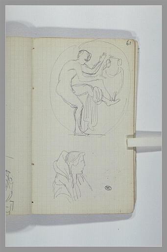 Une copie d'après un vase grec ; figure, en buste, de profil_0