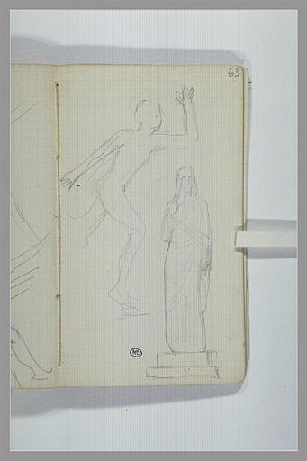 CHAPU Henri Michel Antoine : Grec courant, d'après l'antique, statue d'une femme drapée et voilée