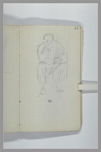 CHAPU Henri Michel Antoine : Un homme assis tenant un bâton de la main gauche