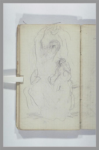 CHAPU Henri Michel Antoine : Une femme, assise, un enfant sur ses genoux