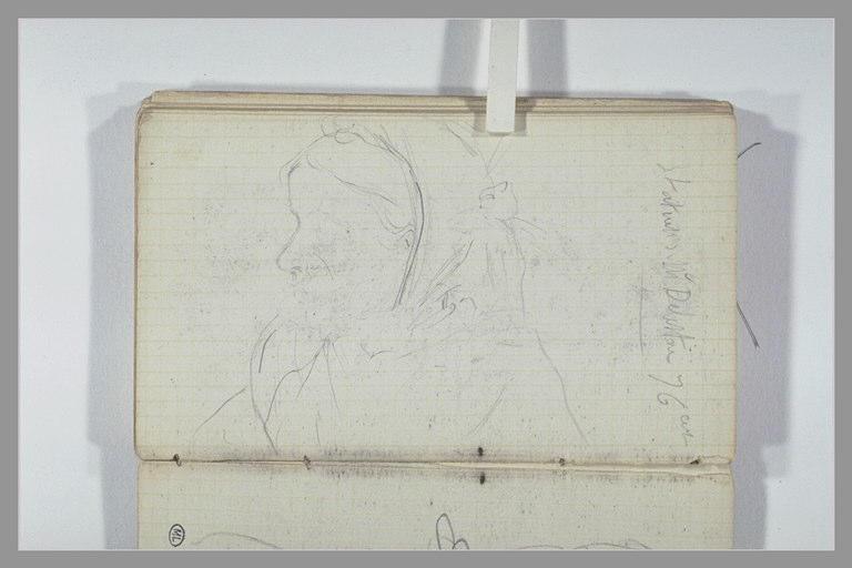Une femme, vue en buste de profil ; note manuscrite_0
