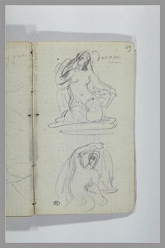 CHAPU Henri Michel Antoine : Danaé assise, figure nue assise