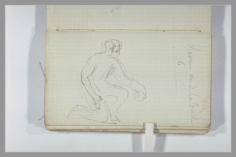 Un lanceur de boules, un genou à terre ; note manuscrite_0