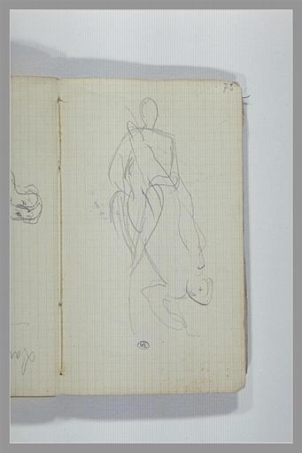 CHAPU Henri Michel Antoine : Croquis d'une figure assise, figure