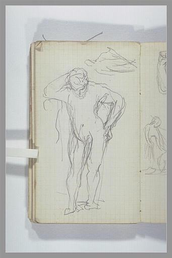 Une figure nue, debout, baissant la tête ; figure