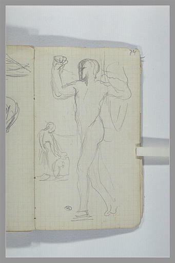 CHAPU Henri Michel Antoine : Une figure nue, debout, tournée vers la gauche, figure