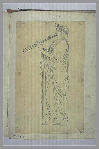 Etude d'une figure jouant de la flûte, d'après l'antique